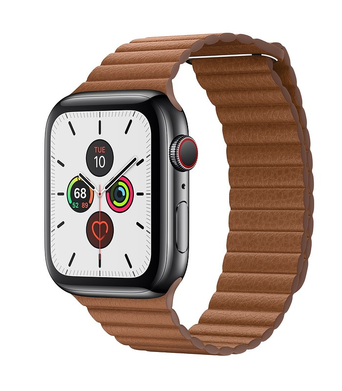 Apple Watch Series 5 Space Black Stainless Steel Case with Leather Loop